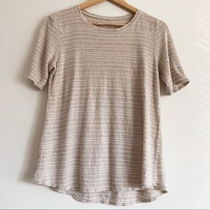 Eileen Fisher Oatmeal Striped Crew Neck Tee Shirt